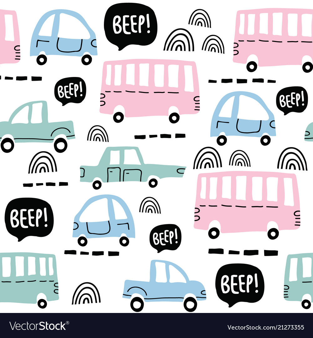 Seamless pattern with cute cars