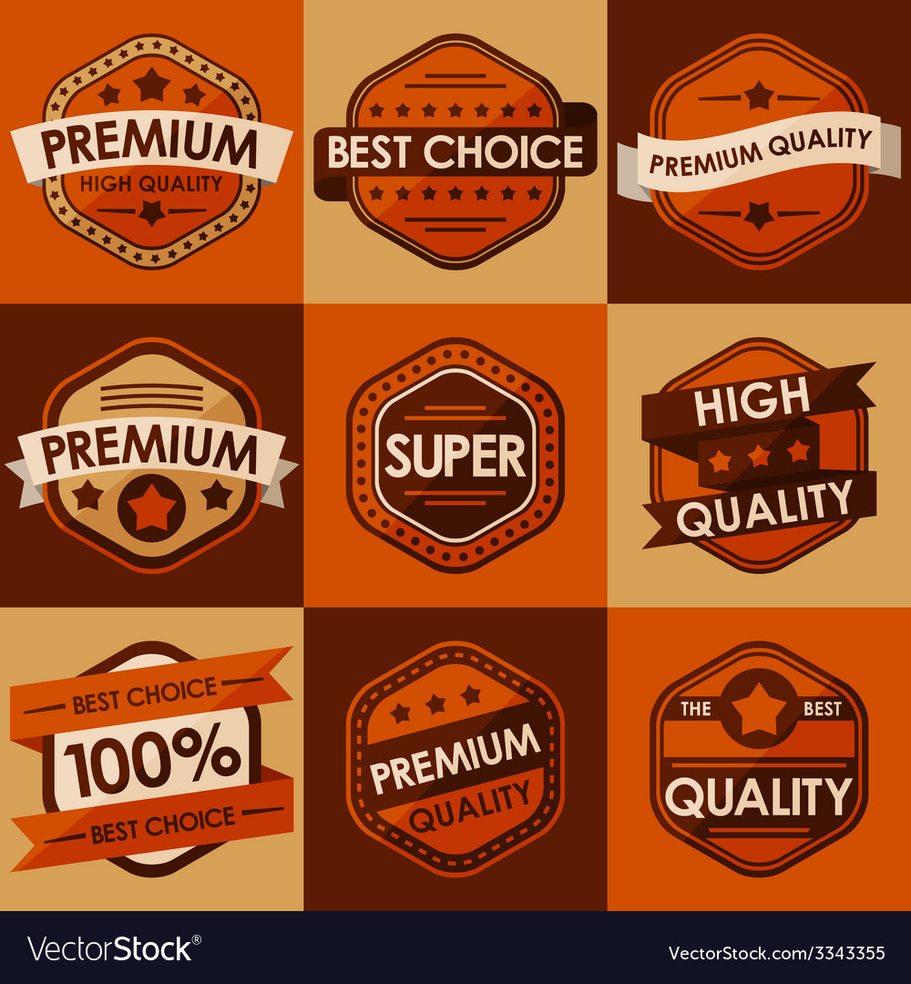 Set of retro vintage badges and labels Flat Style