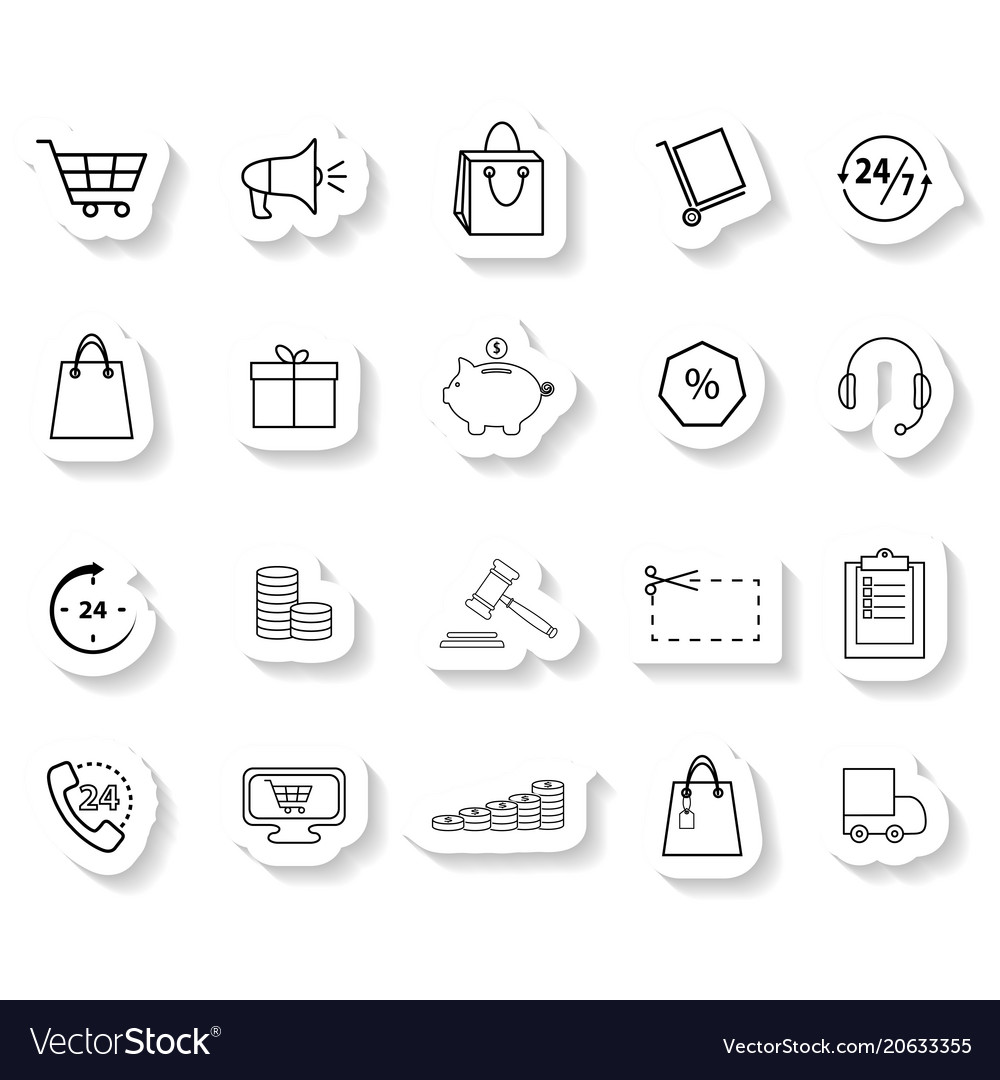 Set of shopping sticker icons vector image