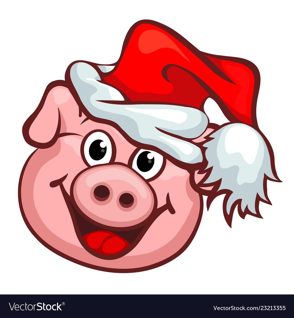 Smiling pig with christmas santas red cap