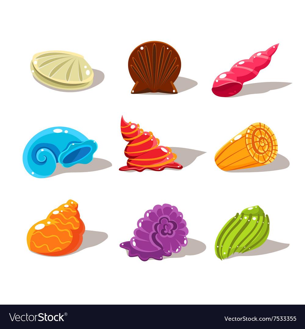 Sparkling Cartoon Sea Shells Royalty Free Vector Image