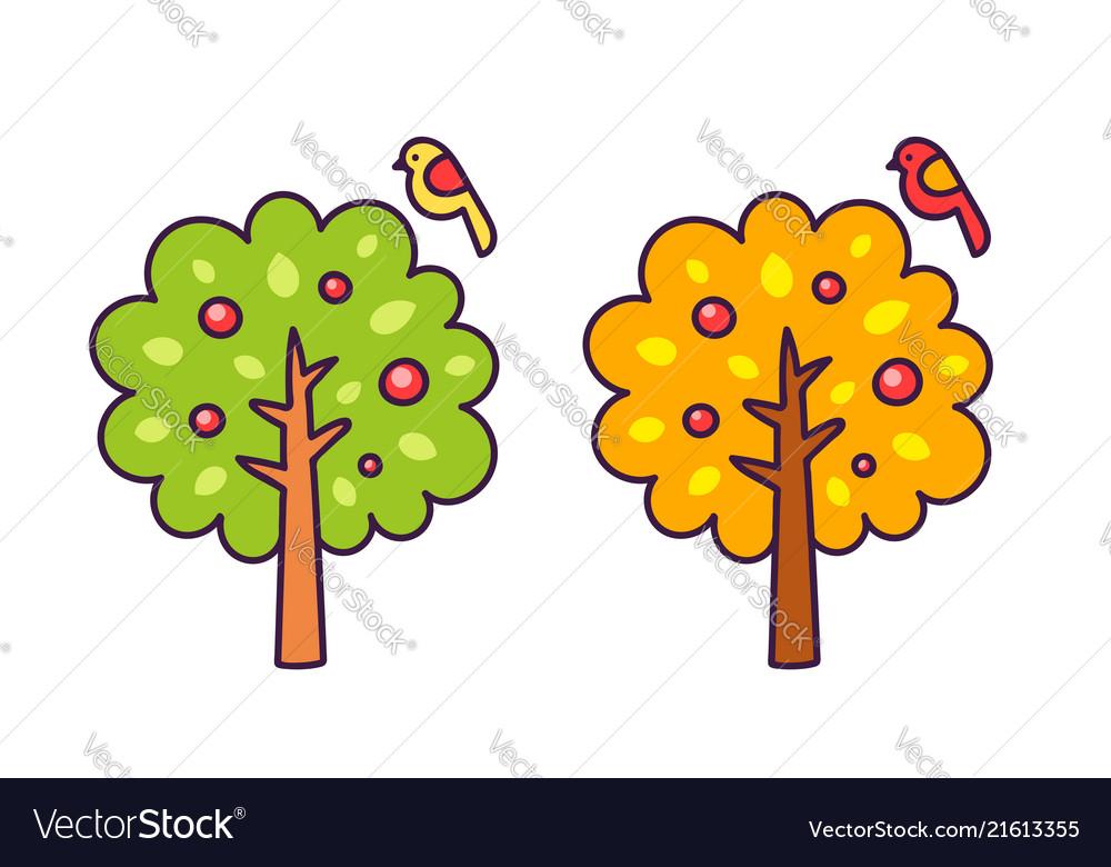 Summer and autumn cartoon tree with a small bird