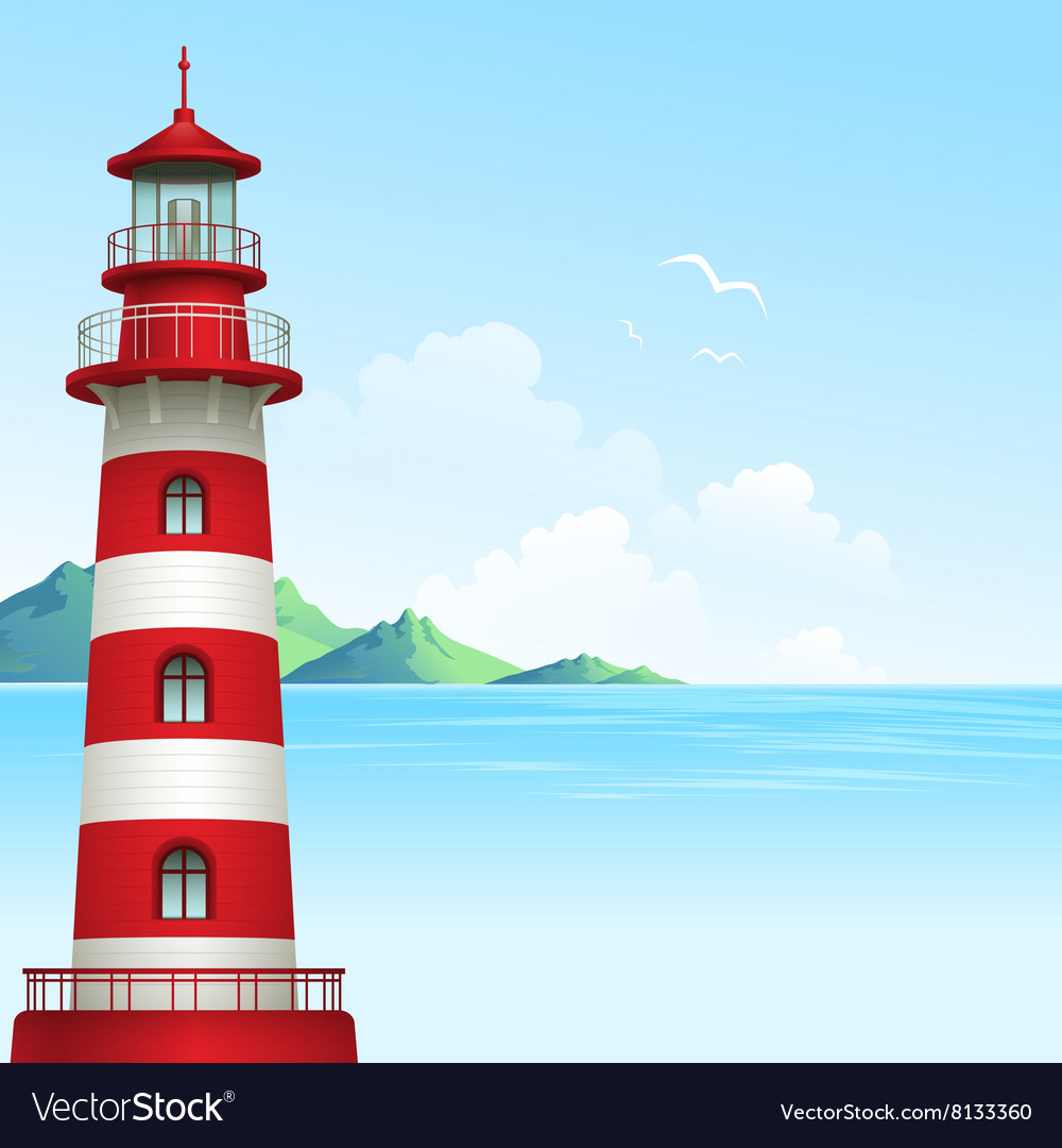 Blue sea background with waves and lighthouse