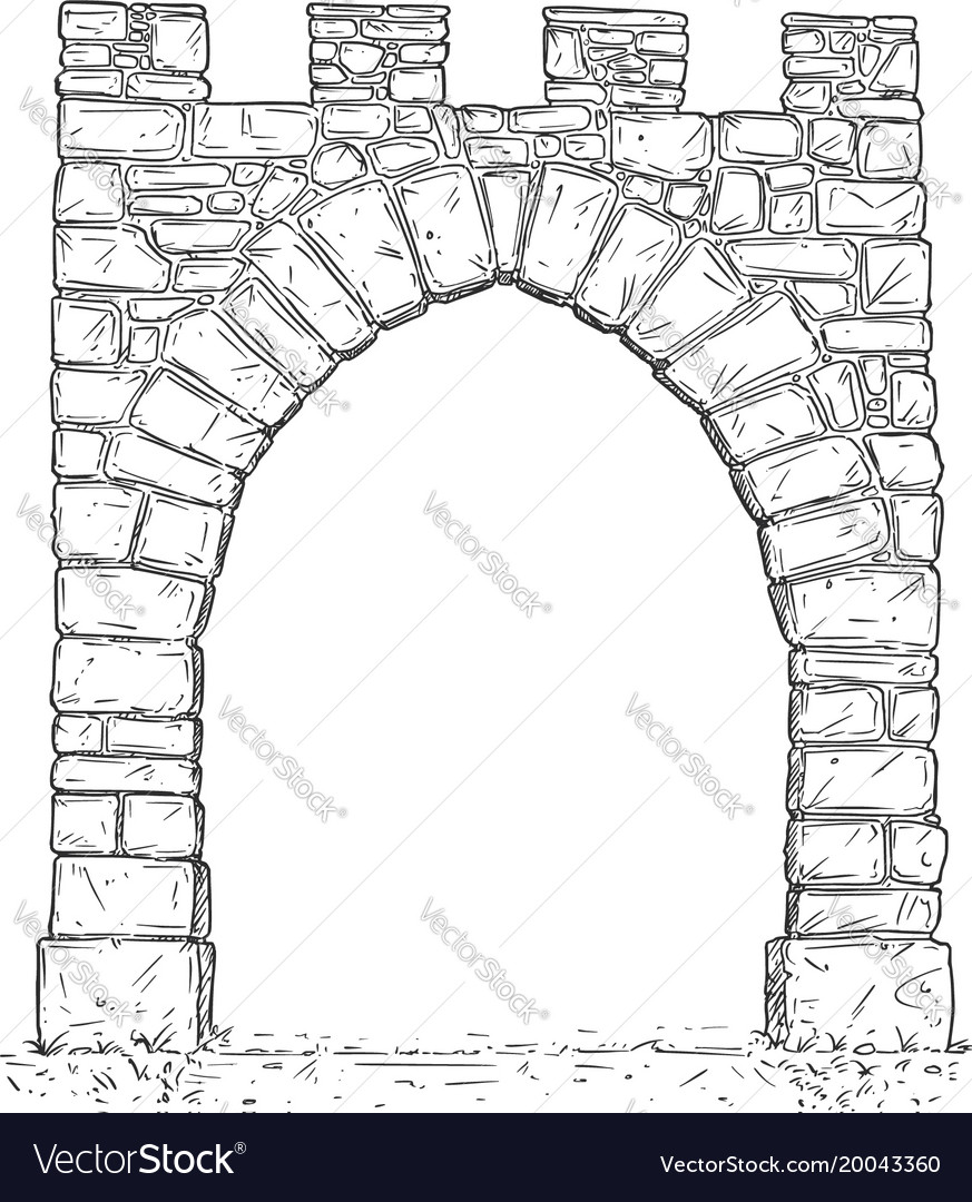 cartoon of open stone medieval decision gate vector image