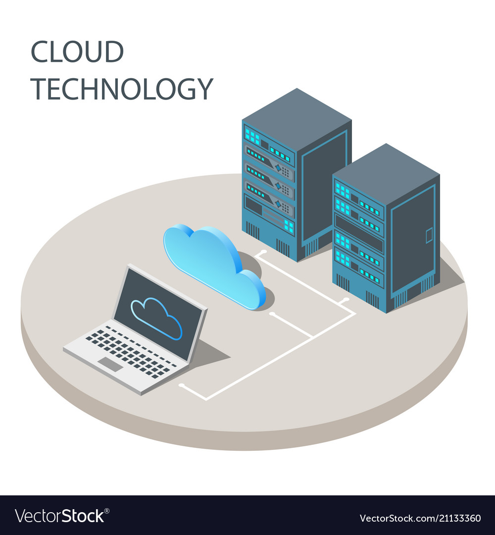 Cloud technology concept poster isometric