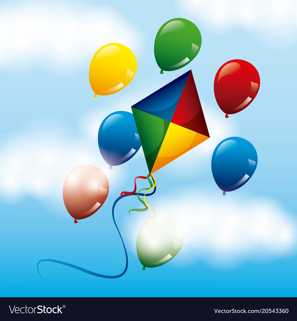 Colored bright kite and balloons flying in the sky