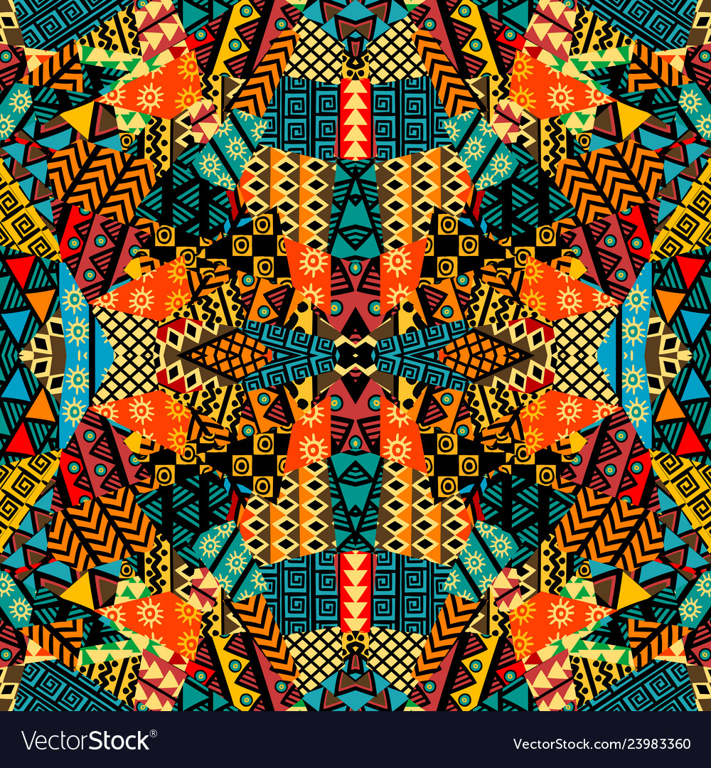 Colored ethnic patchwork mosaic with african