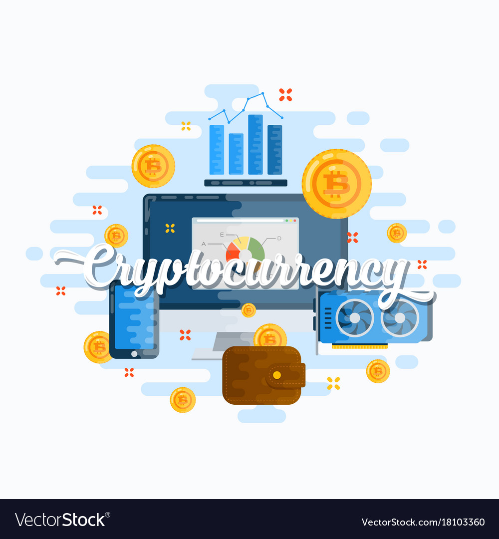 Cryptocurrency abstract flat style modern