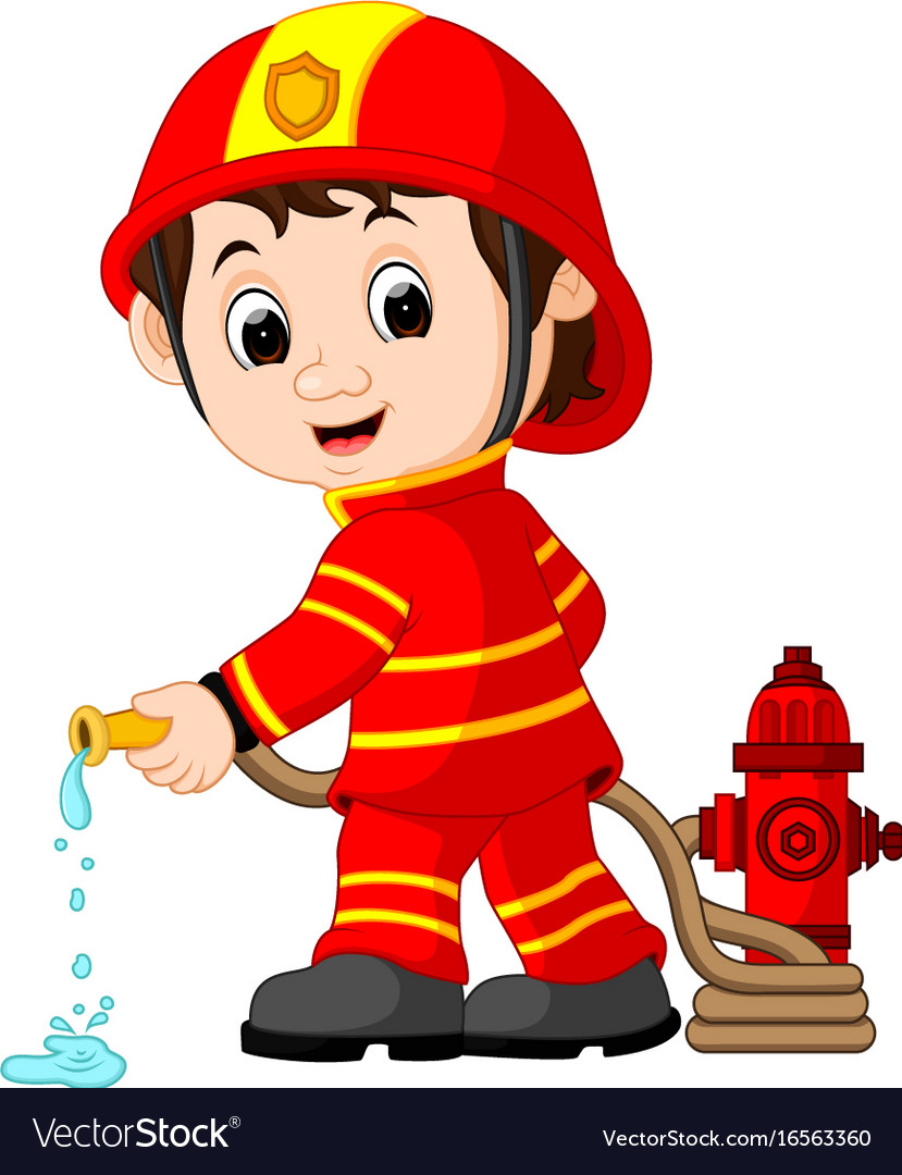 cute fireman cartoon royalty free vector image rh vectorstock com Cartoon Firefighter Clip Art Cartoon Firefighter Girl
