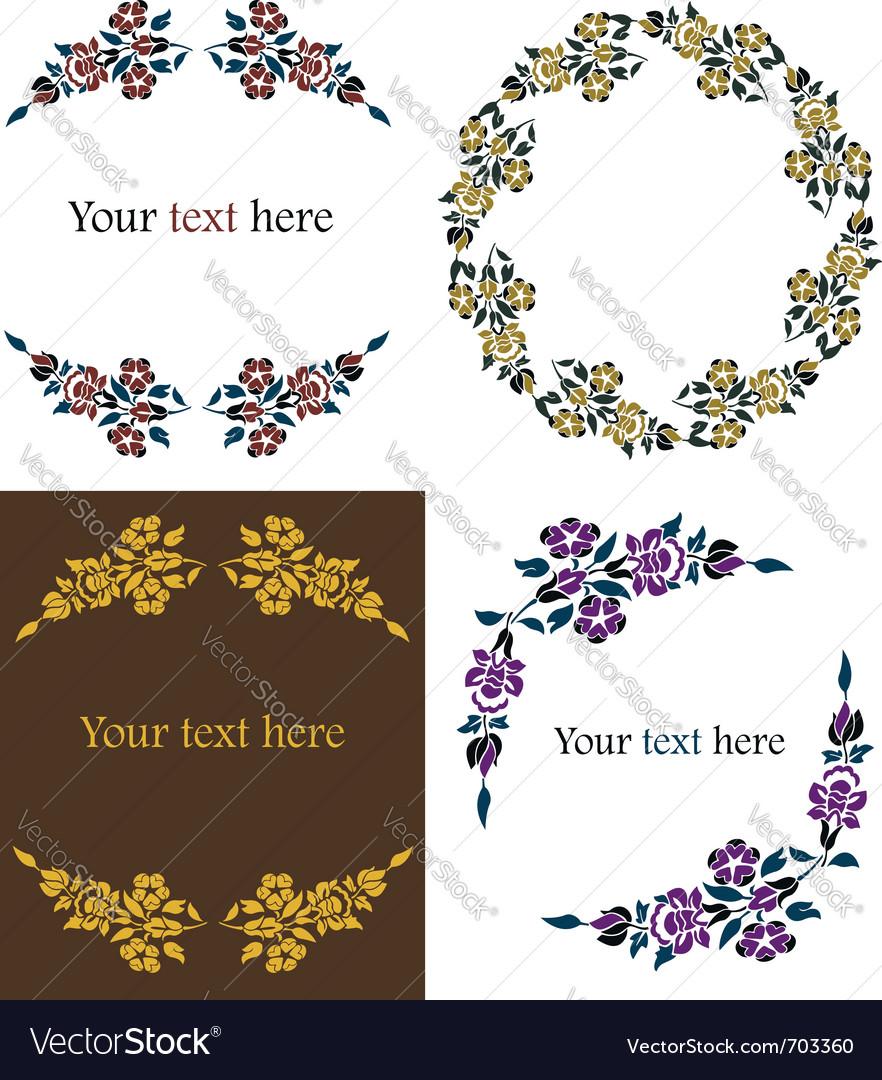 Decorative floral frames set