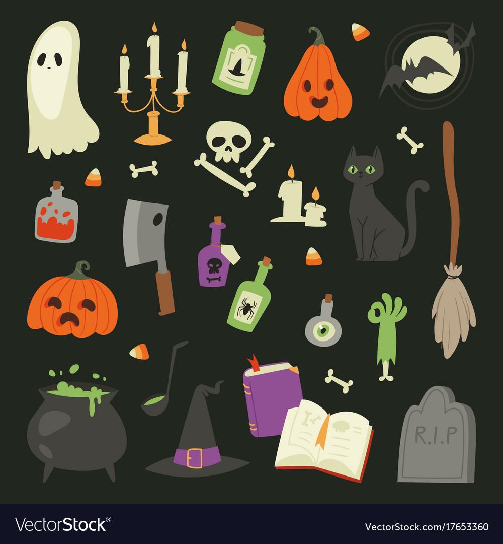 Halloween carnival symbols icons set