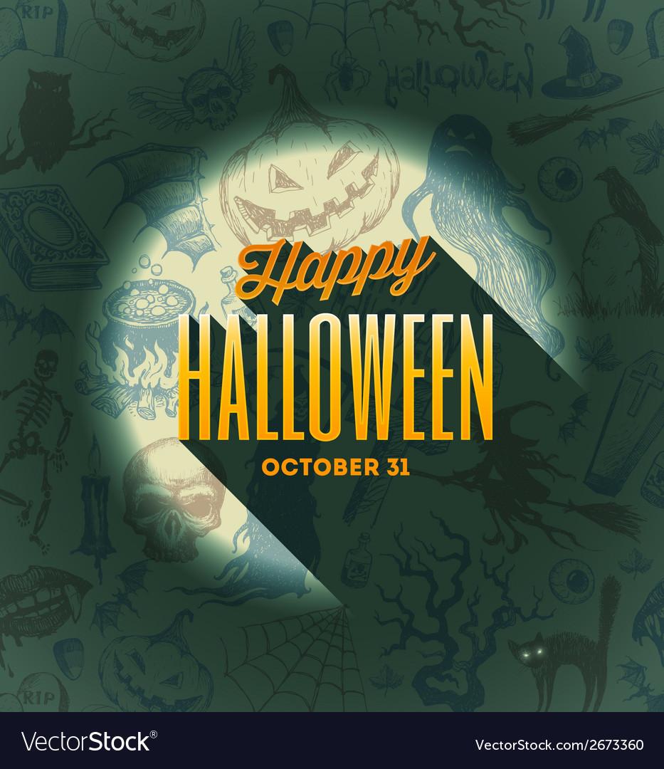 Halloween type design on a hand drawn background1