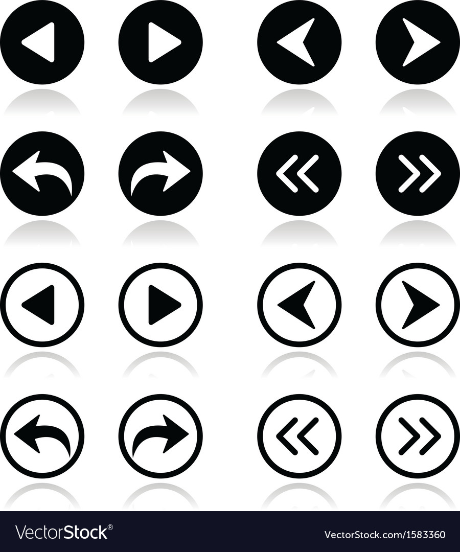 Left and right arrows round icons set