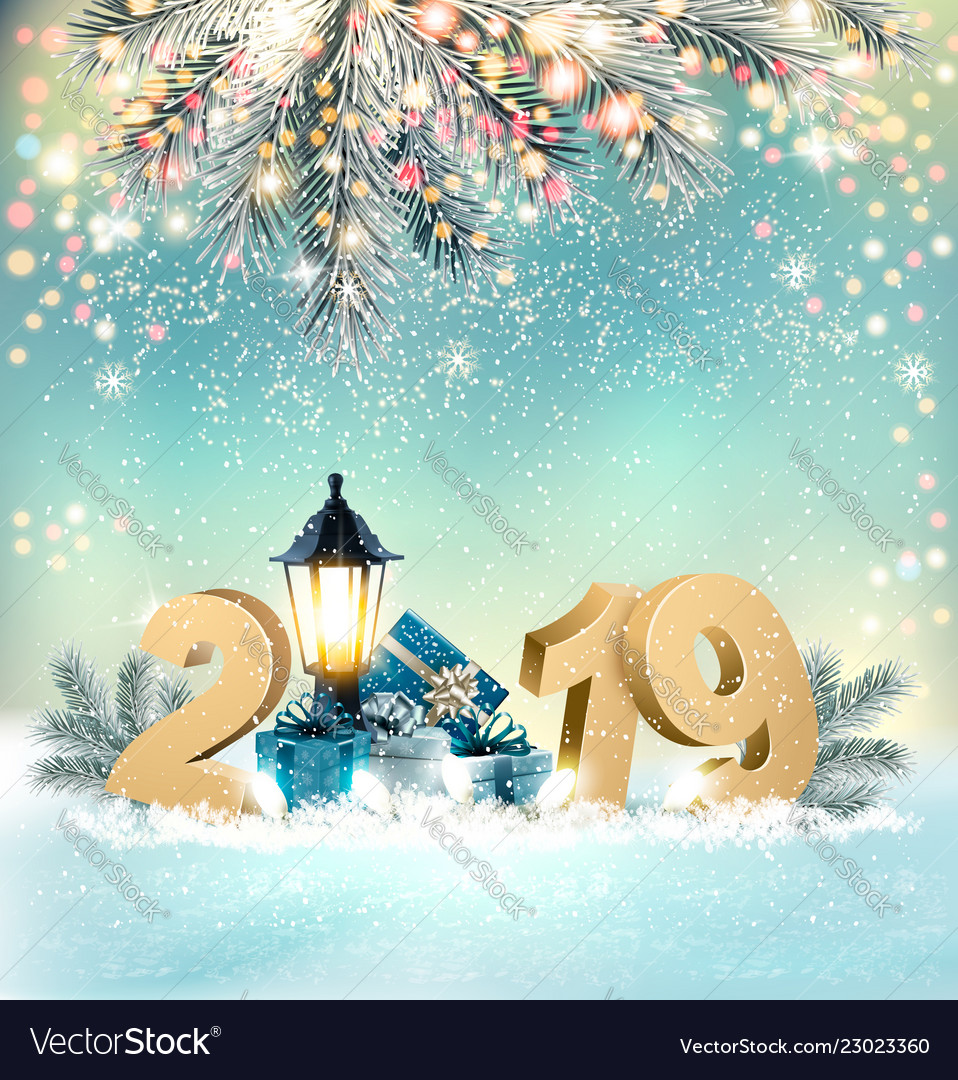 2019 Christmas Background Merry christmas background with 2019 and gift Vector Image