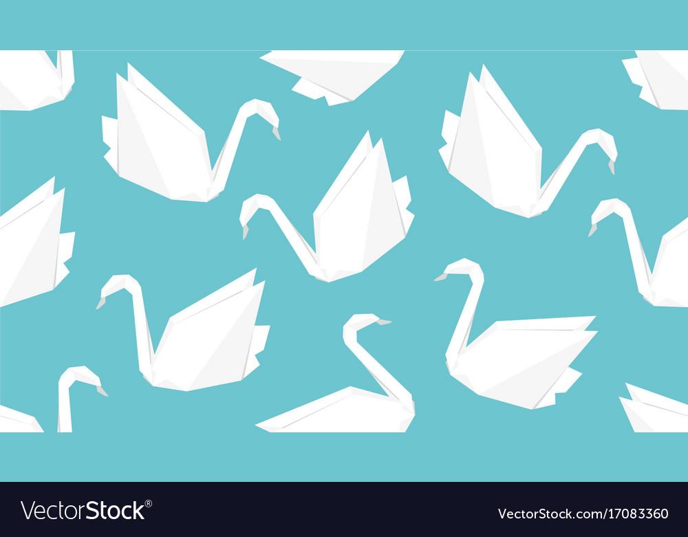 Origami crane bird seamless pattern