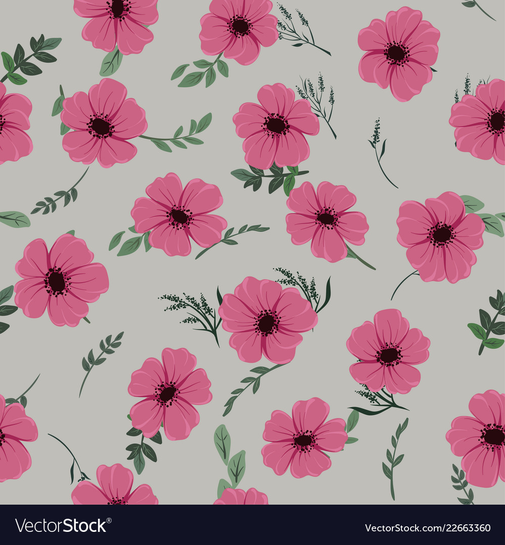 Seamless pattern with cute different wild flowers