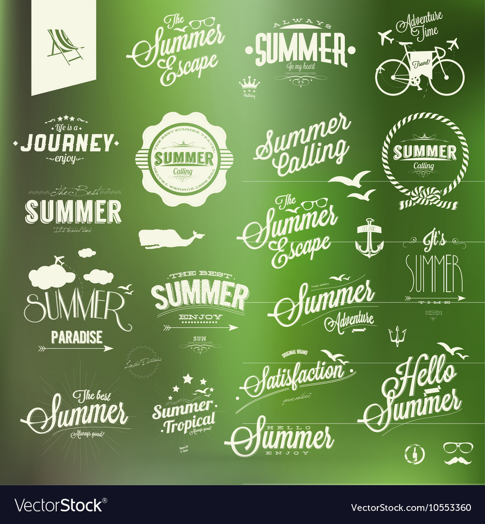 Vintage summer design elements collection
