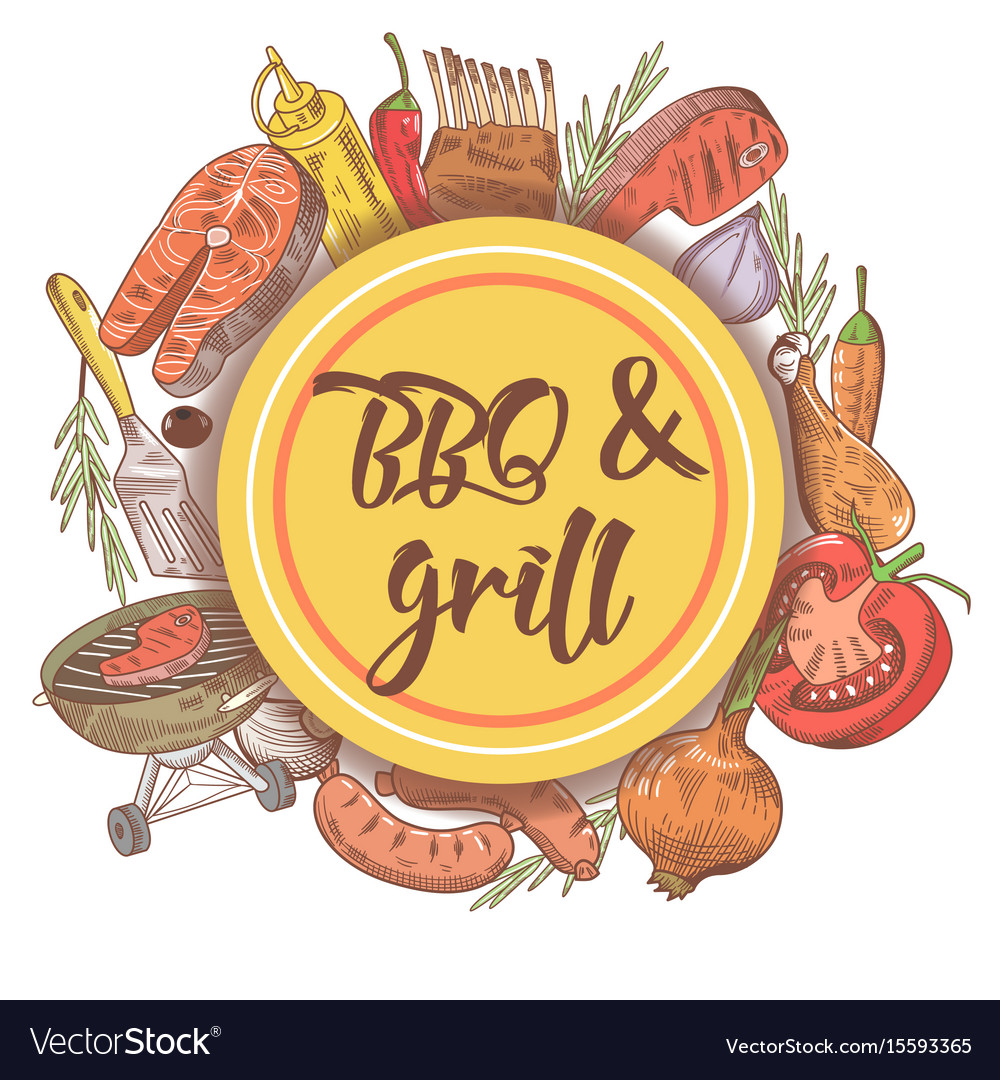 Bbq and grill hand drawn background with steak