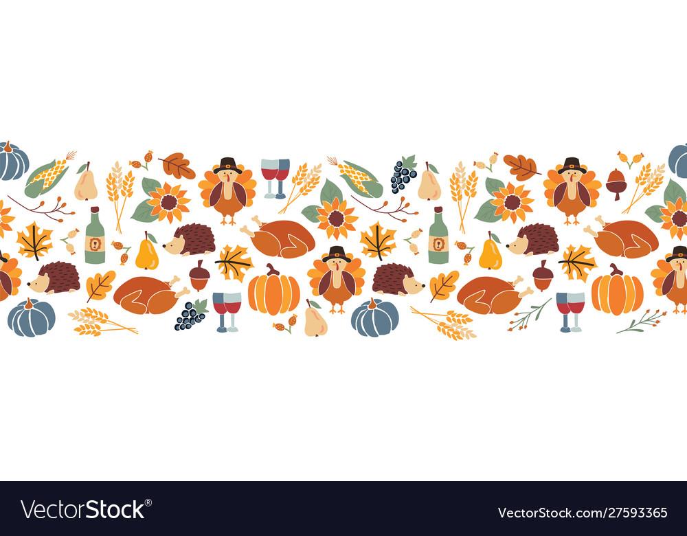 Border thanksgiving seamless autumn food