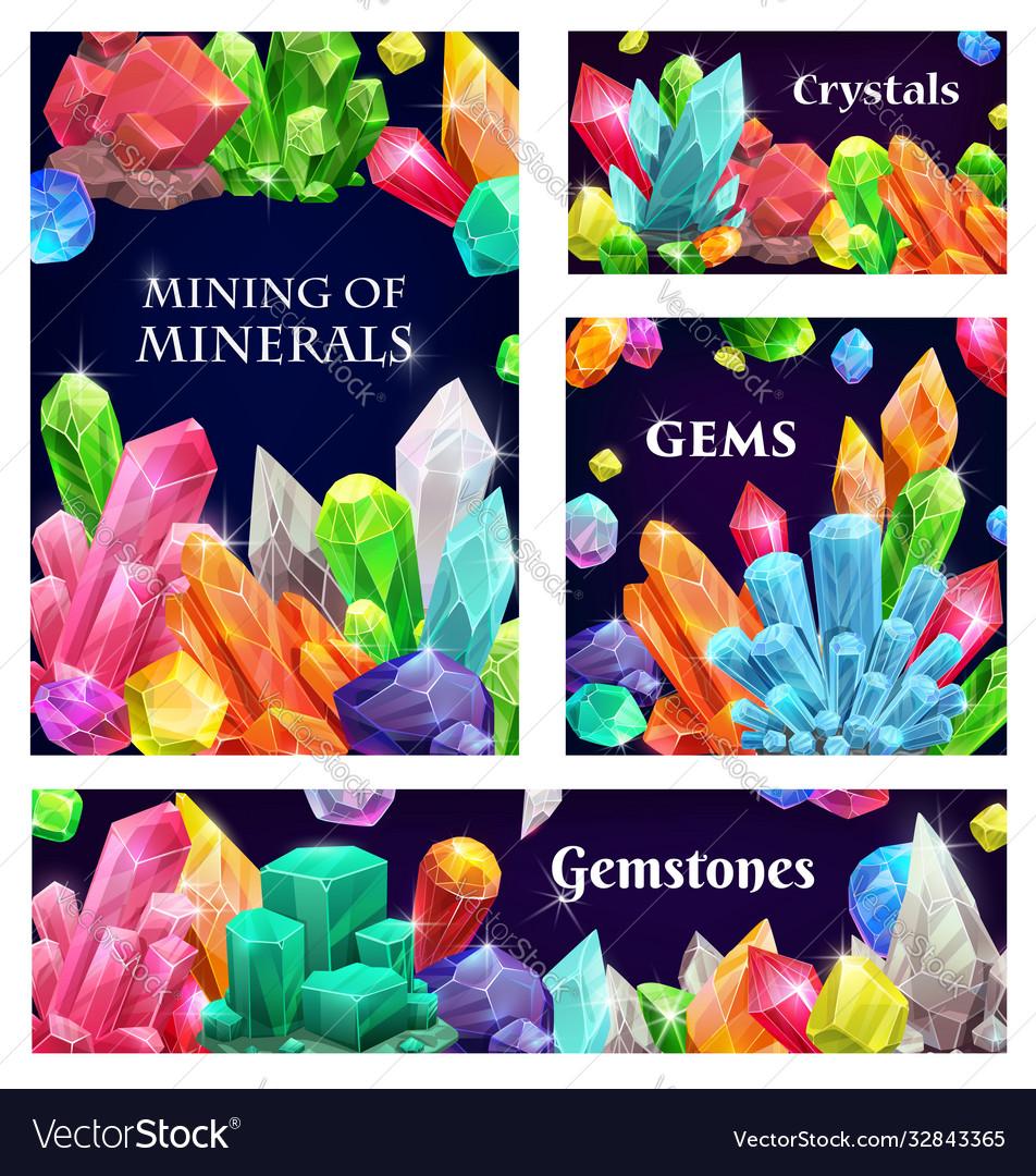 Crystal gems gemstones or mineral crystallization