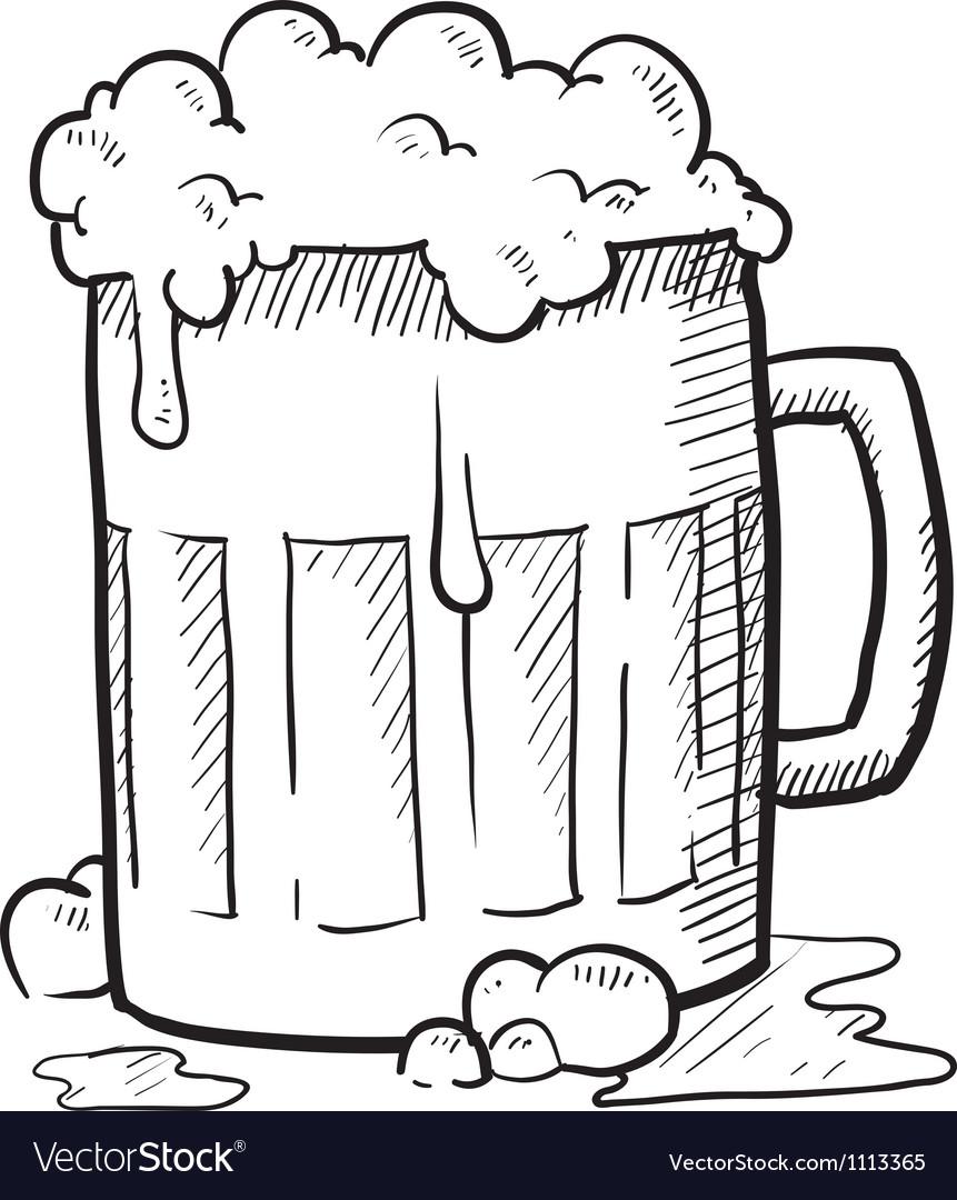 Doodle Beer Mug Royalty Free Vector Image Vectorstock
