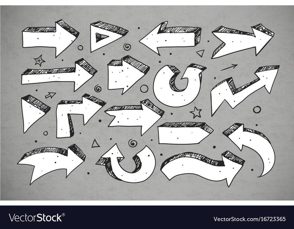Doodle sketch arrows on grey background