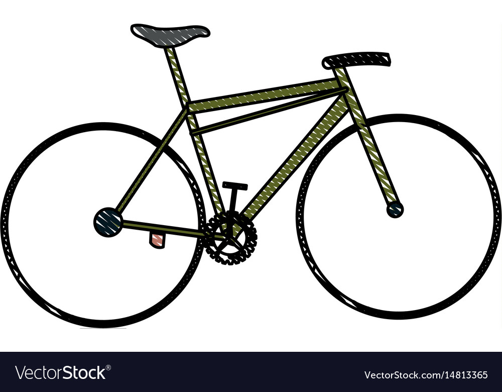 Drawing bicycle sport transport equipment vector image