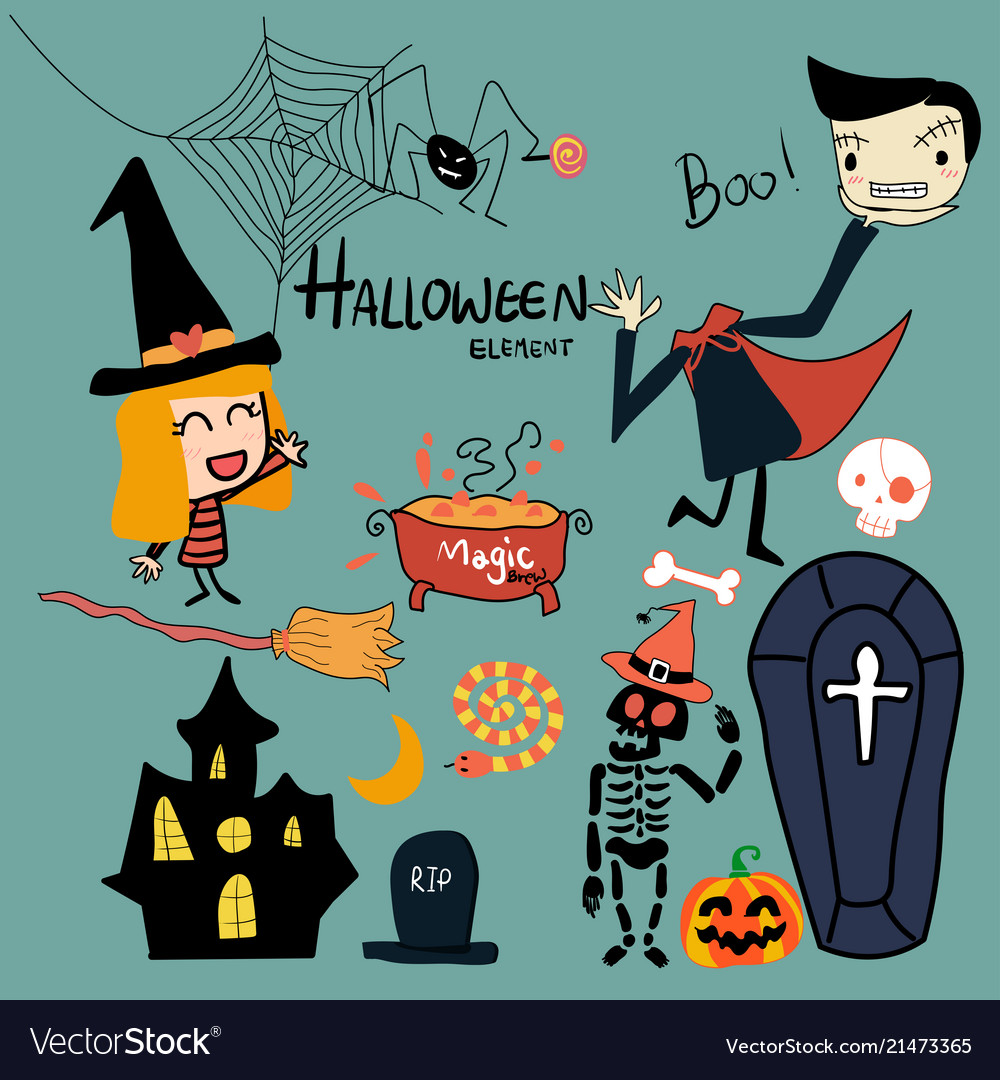 Hand drawn halloween elements collection cute vect