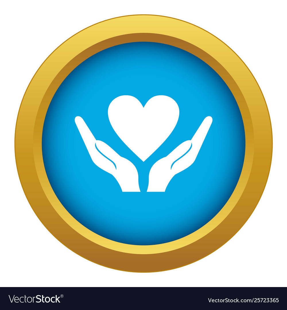 Hands holding heart icon blue isolated