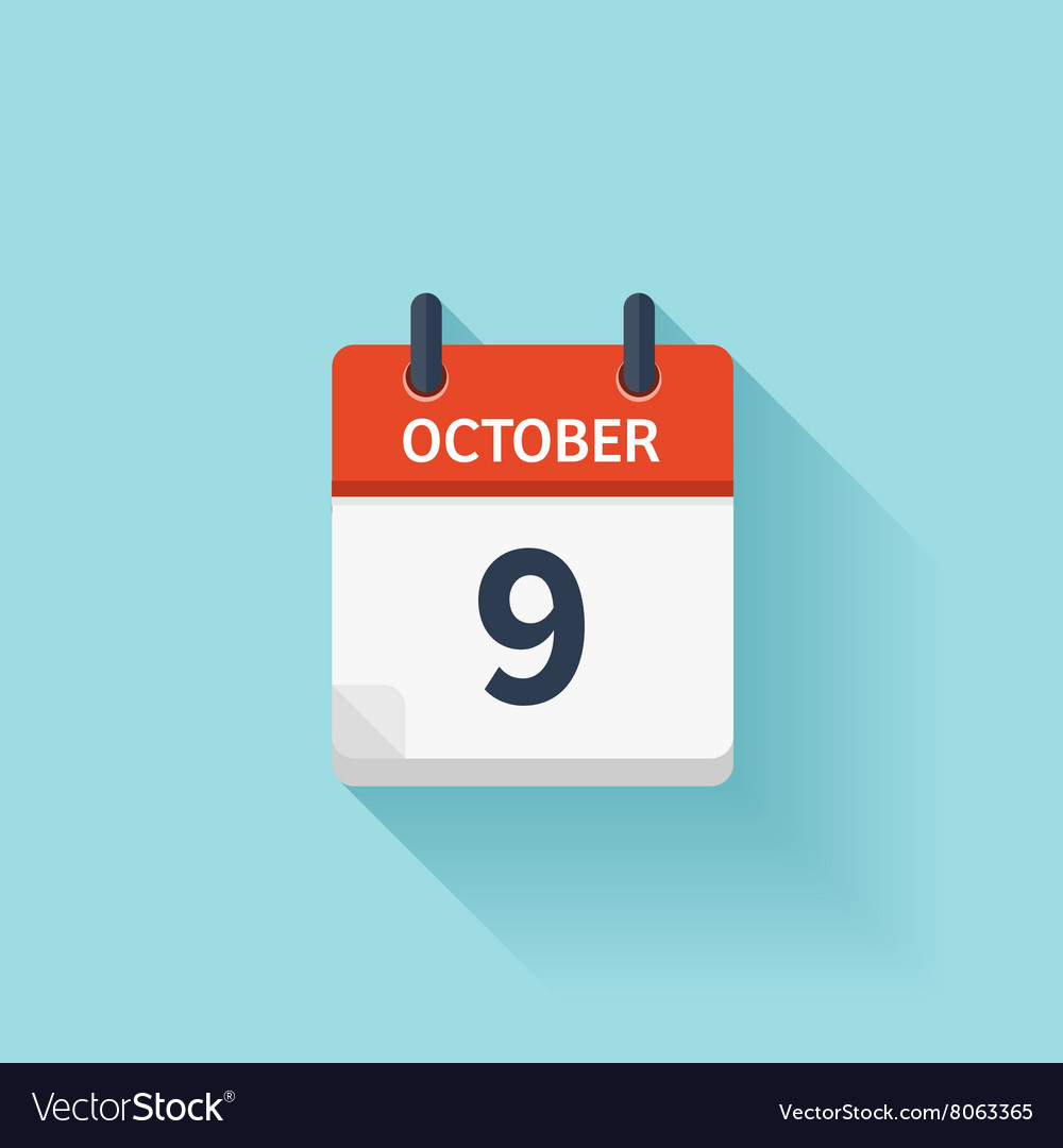 October 9 flat daily calendar icon Date vector image
