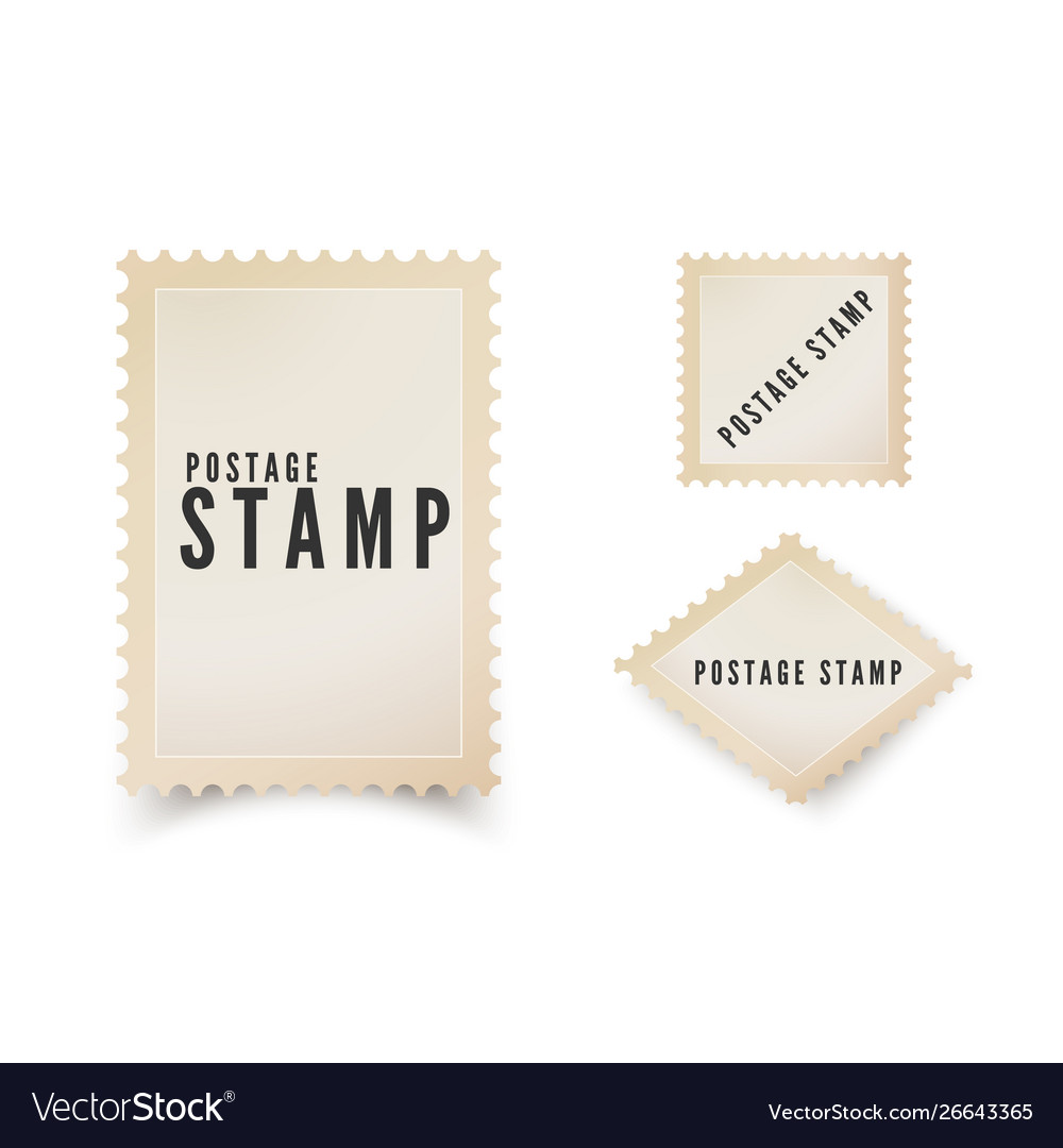 Retro postal stamp template with shadow vintage
