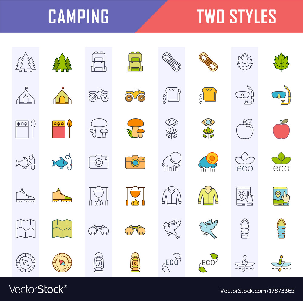 Set flat line icons camping
