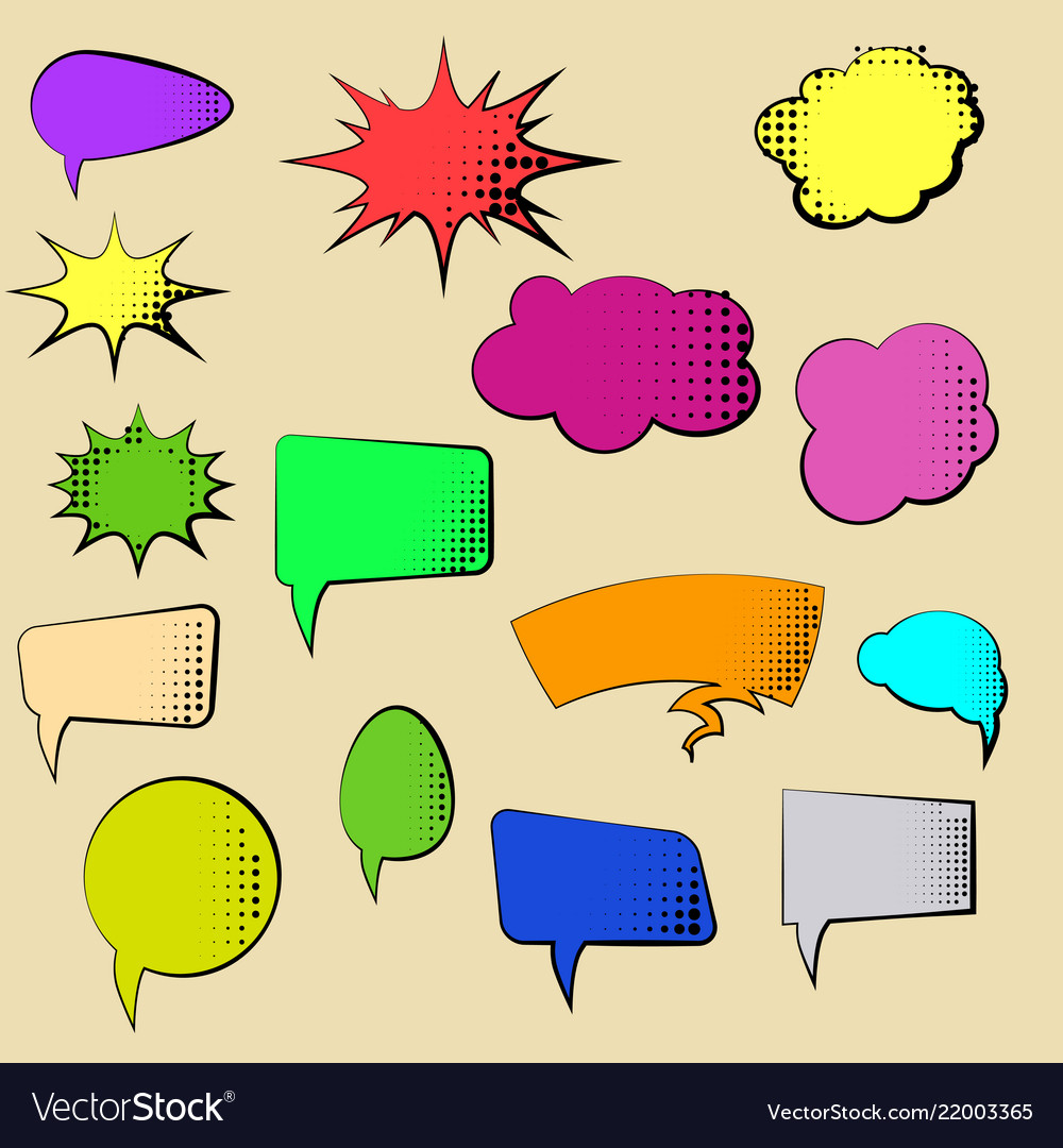 Set of cartoon comic speech bubbles clouds with