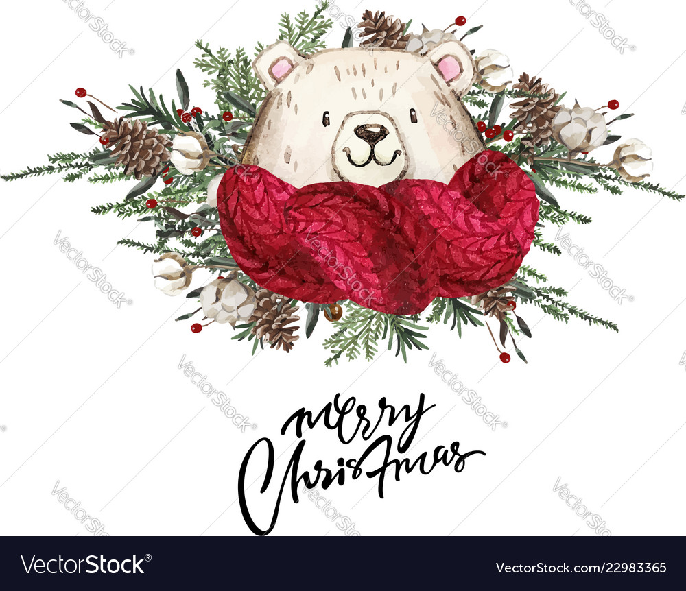 Set of christmas woodland cute forest cartoon bear