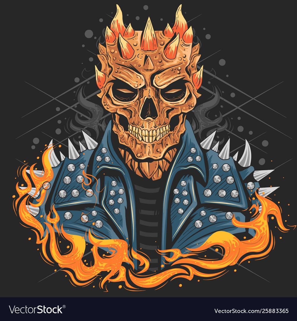Skull punk head with jacket for band cover or bik