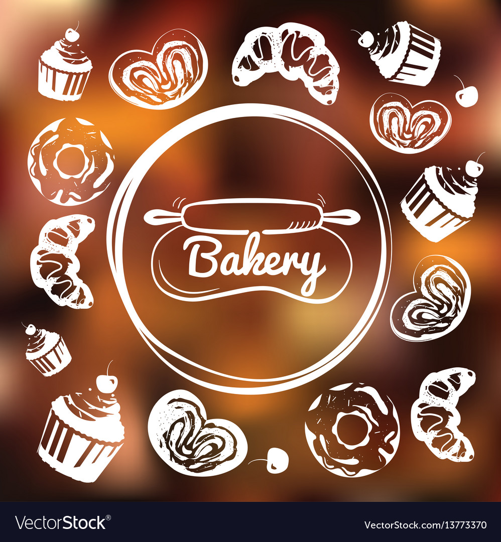 Bakery cafe identity concept chalkboard sweets as