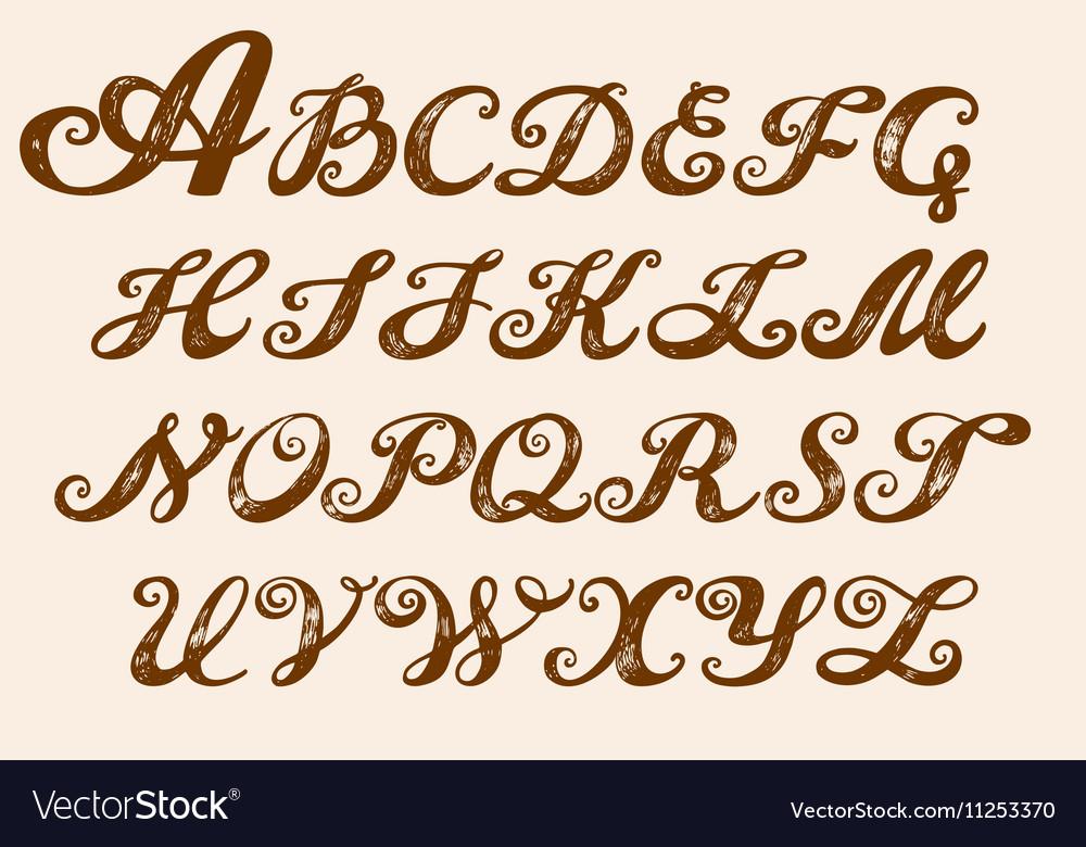 Calligraphy alphabet typeset lettering