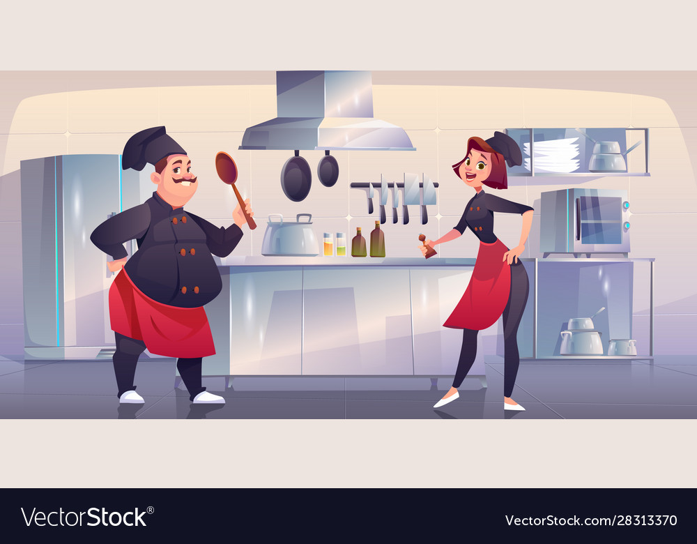 Chef and sous chef on kitchen restaurant staff