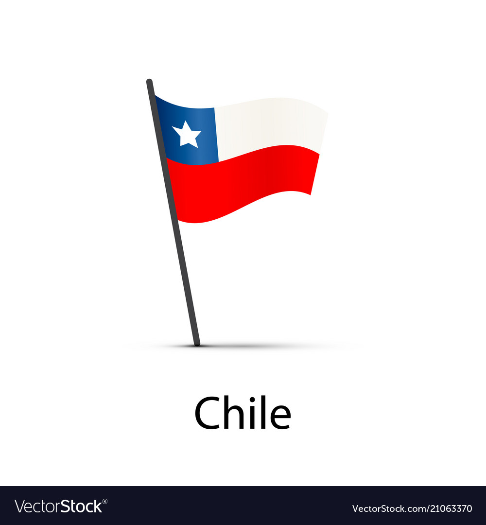 Chile flag on pole infographic element on white