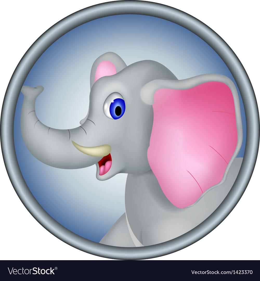 Cute head elephant cartoon
