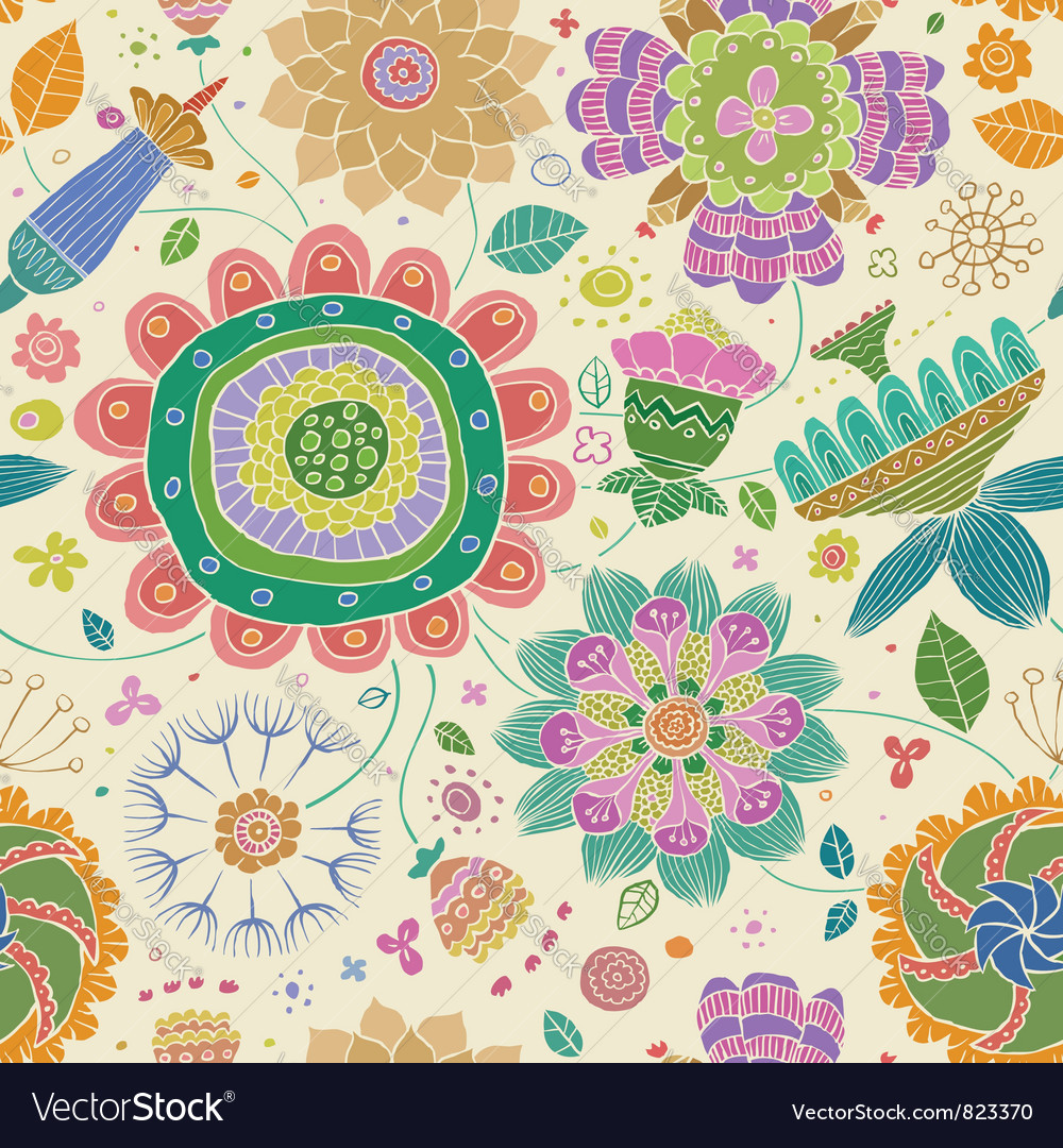 Floral seamless colored vector image
