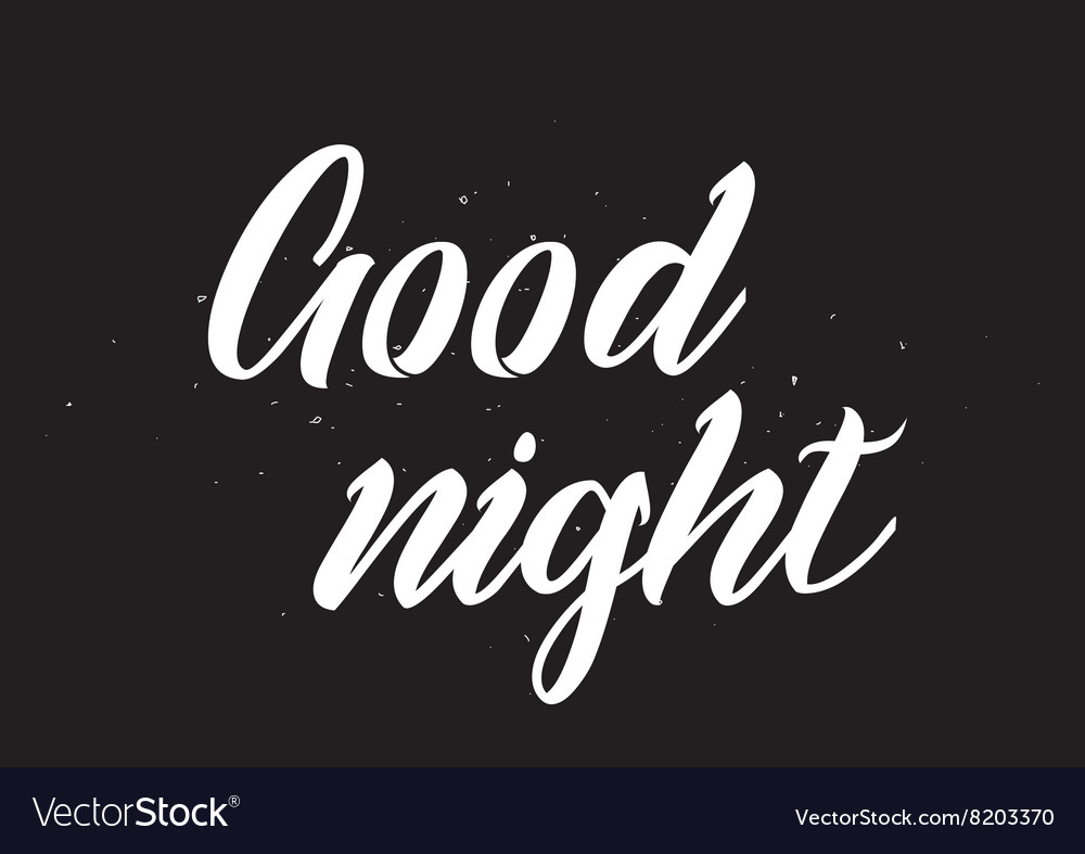 Good Night Inscription Greeting Card With Vector Image