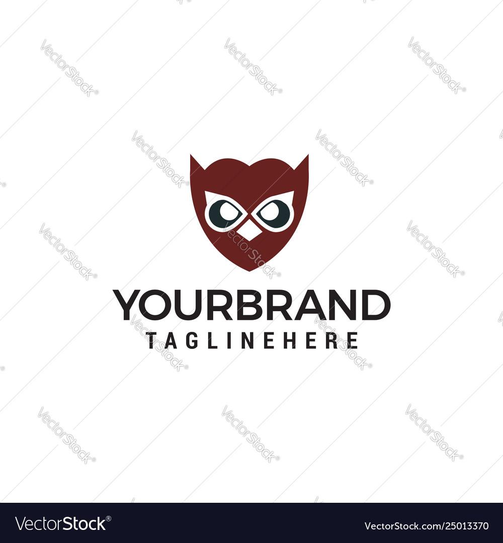 Owl face logo design concept template