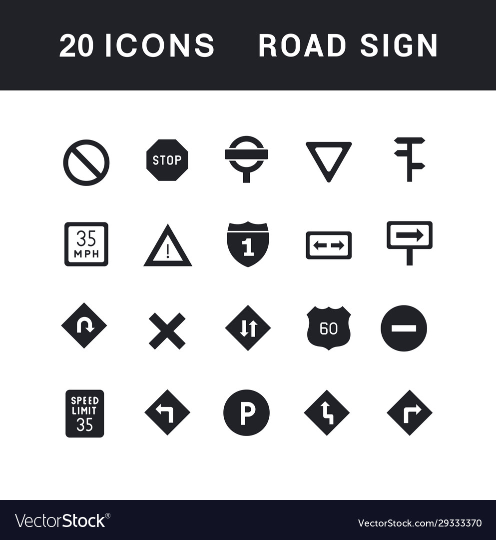 Set simple icons road sign