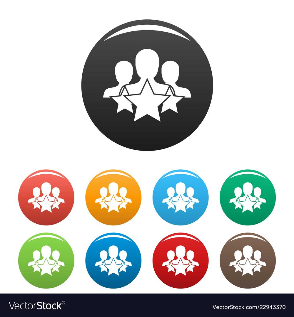 Star customer retention icons set color