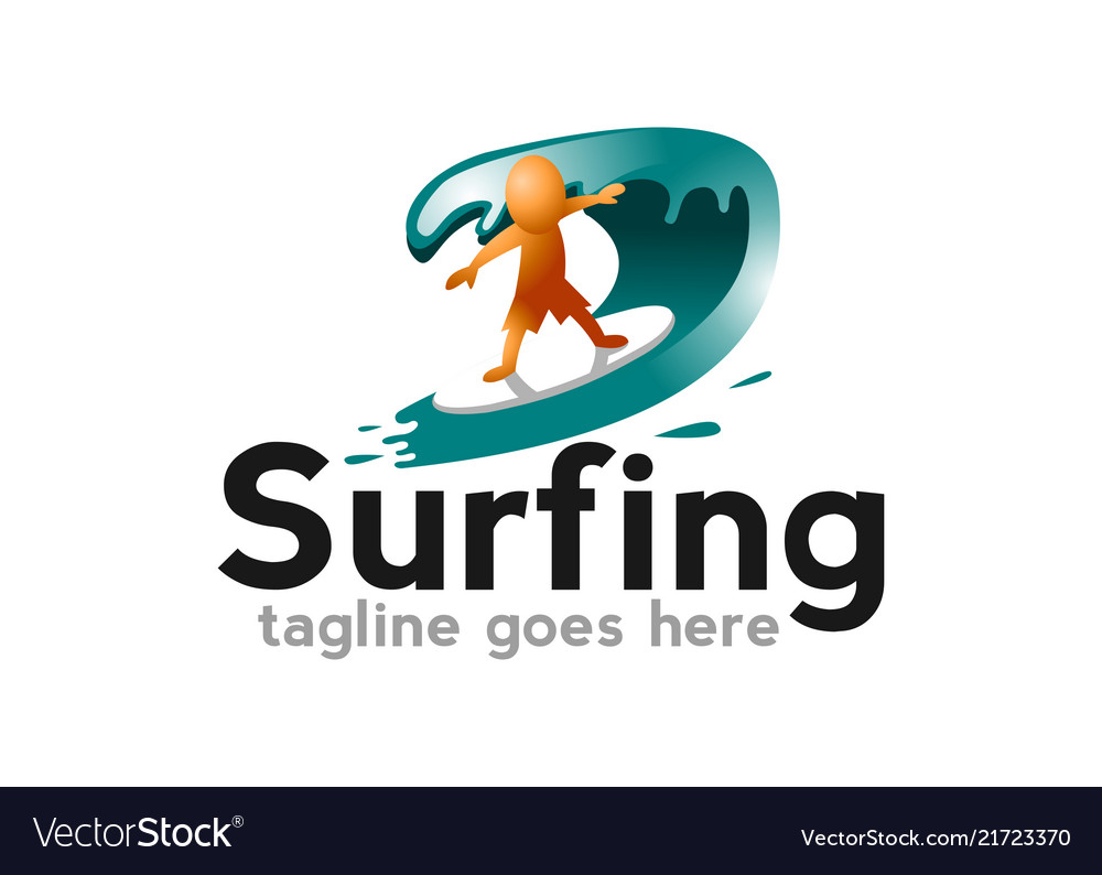 Surf logo with man board and sea waves