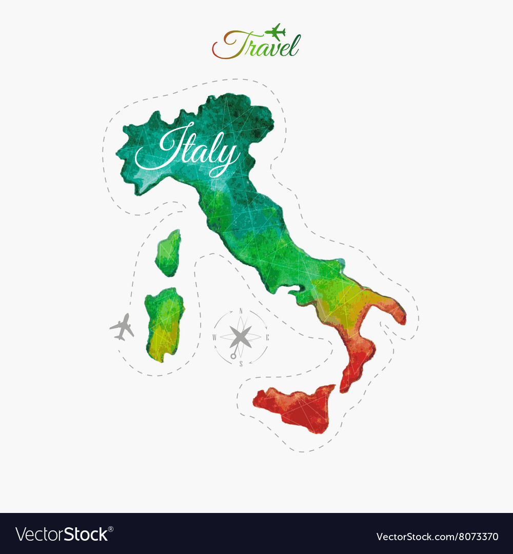 Travel around the world Italy Watercolor map