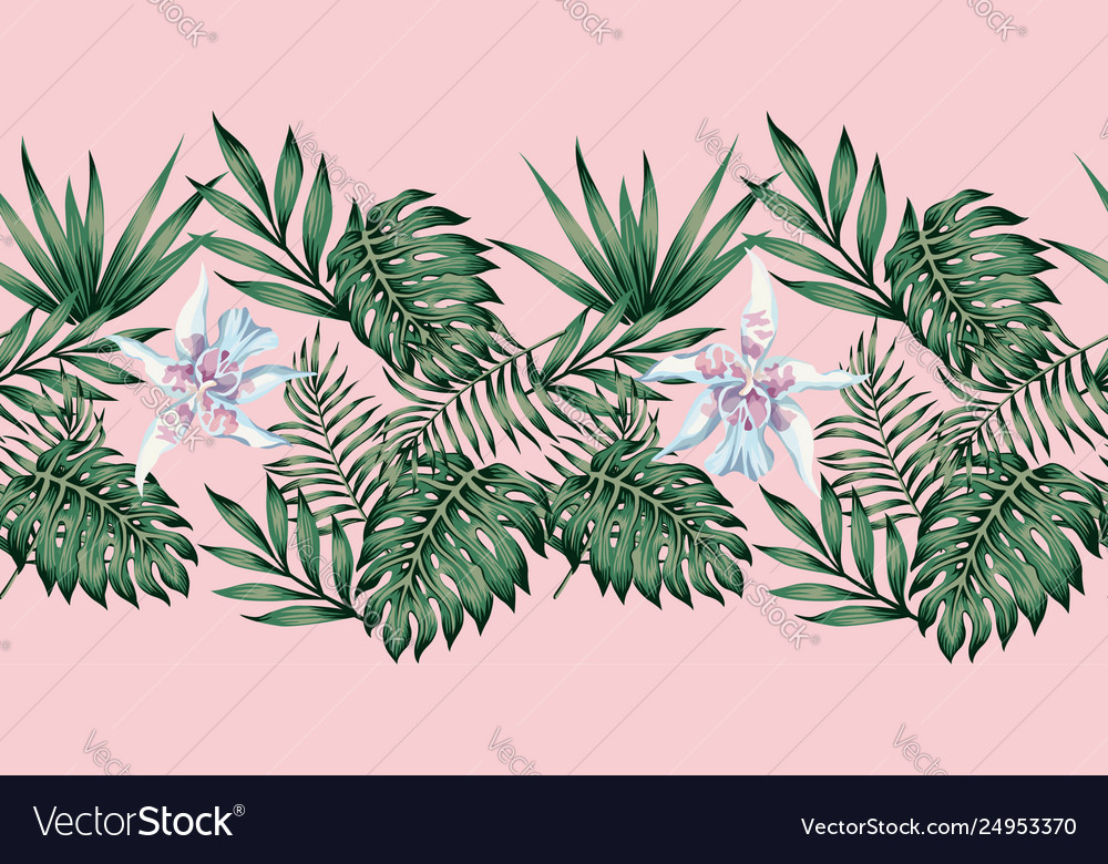 Tropical leaves and flowers ribbon pink background