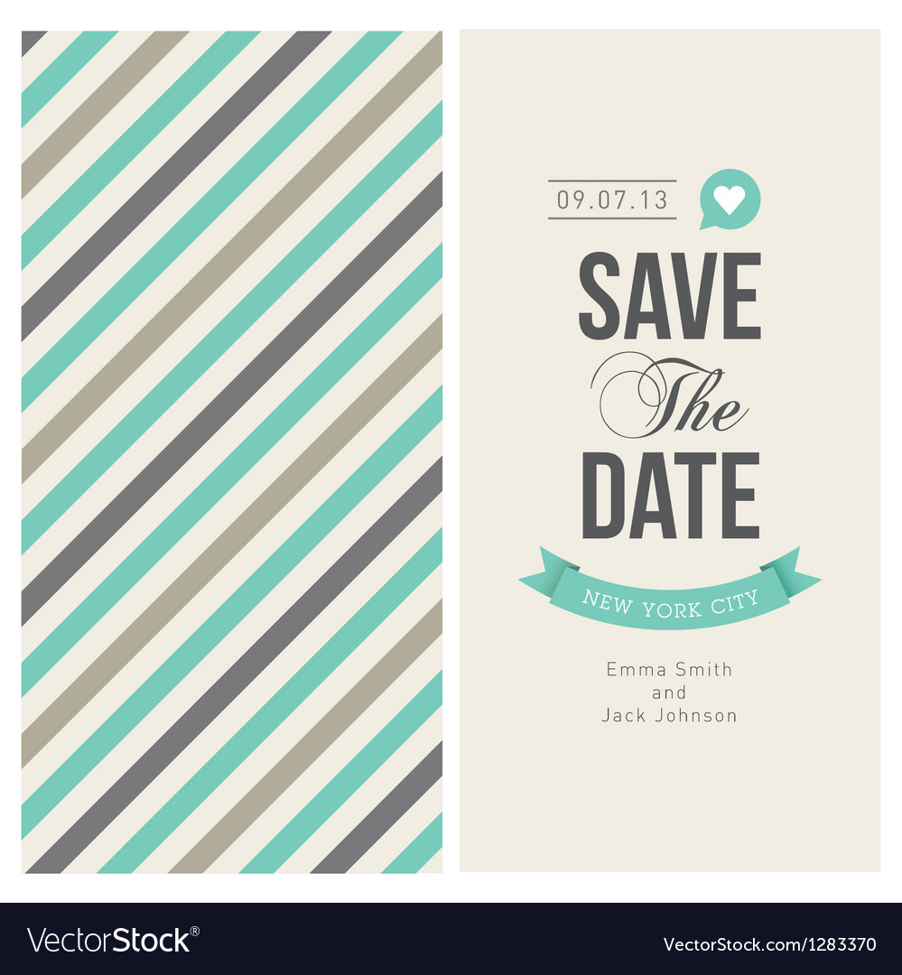 Wedding invitation card with backround stripes