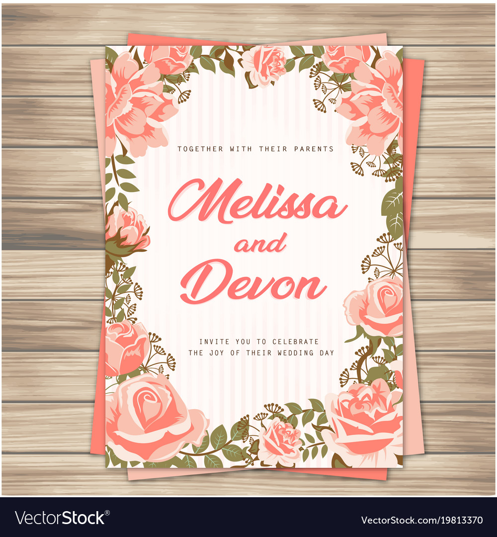 Wedding Invitation Backgrounds: Wedding Invitation Pink Roses Pink Background Vect